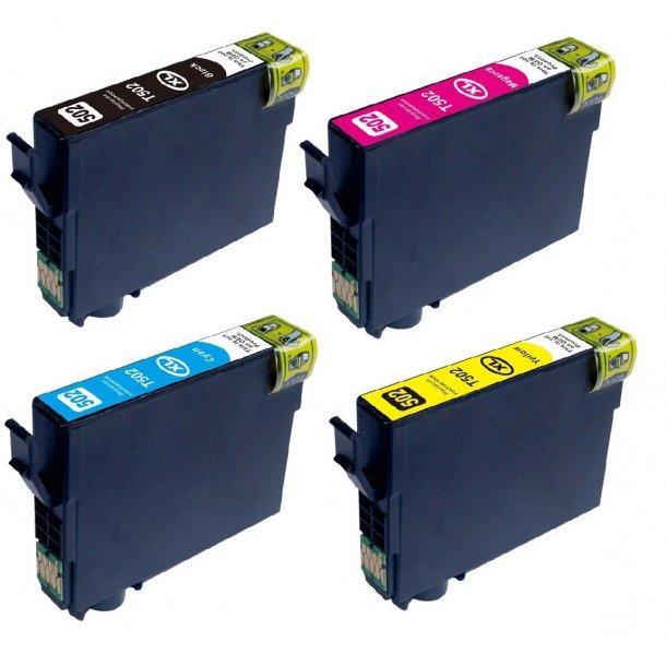 Sampack med 4 styk Epson 502XL kompatibel blækpatron indeholder hele 49ml.